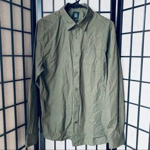 Volcom olive green long sleeve button down M